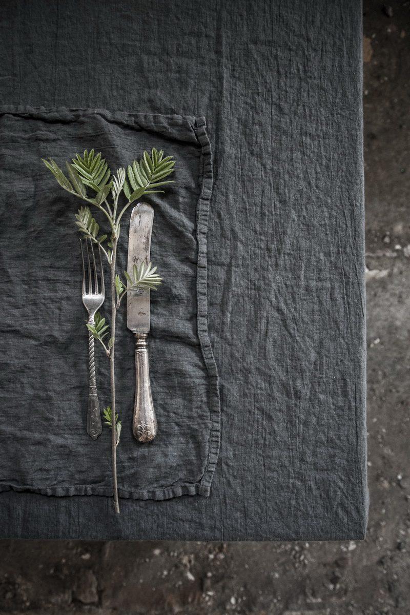 Leinenserviette stonewashed Grau