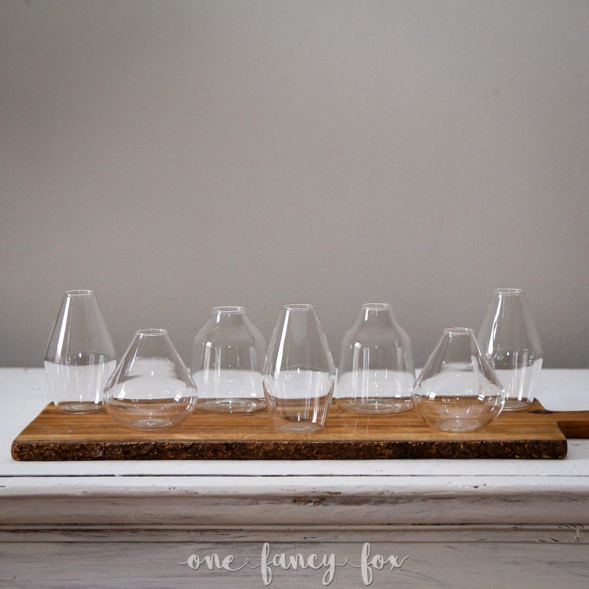 Teelichter-Vasen mieten bei One Fancy Fox Dekoration undVasen mieten im Hochzeitsverleih in Berlin