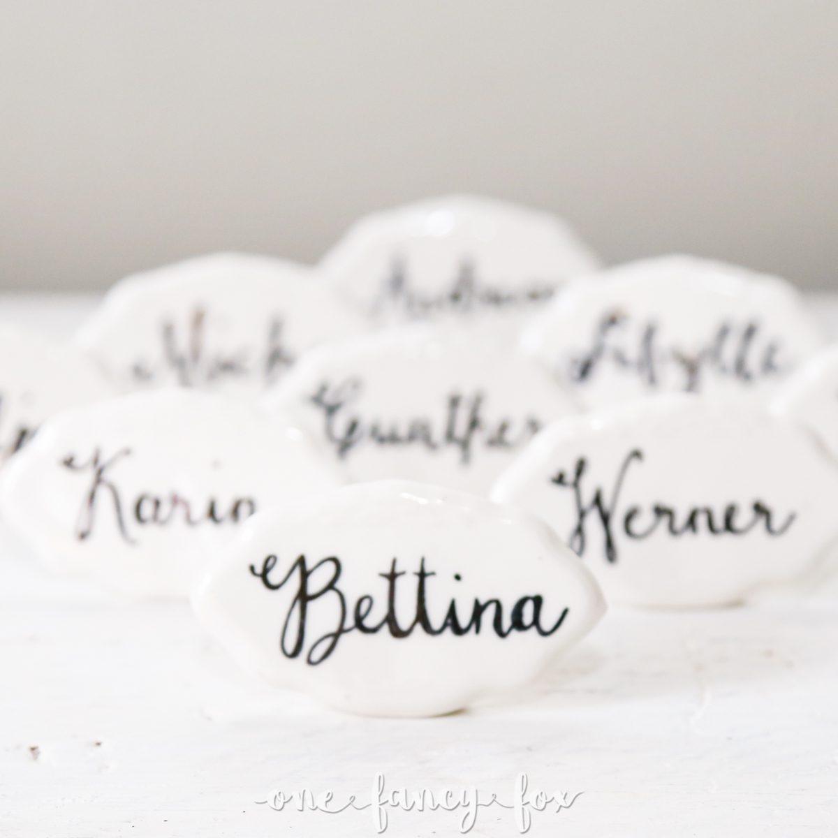 Namensschild mieten Platzkarte Keramik Hochzeit