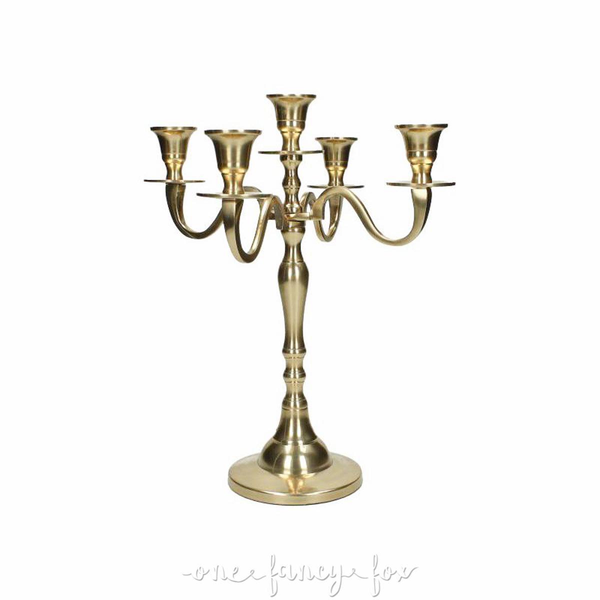 Kerzenleuchter Gold 5-armig leihen Gold