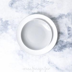 Dessertteller Grau mit Speiseteller Grau