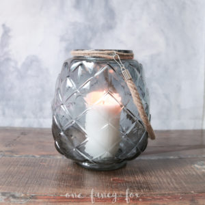 Vase Windlicht graublau