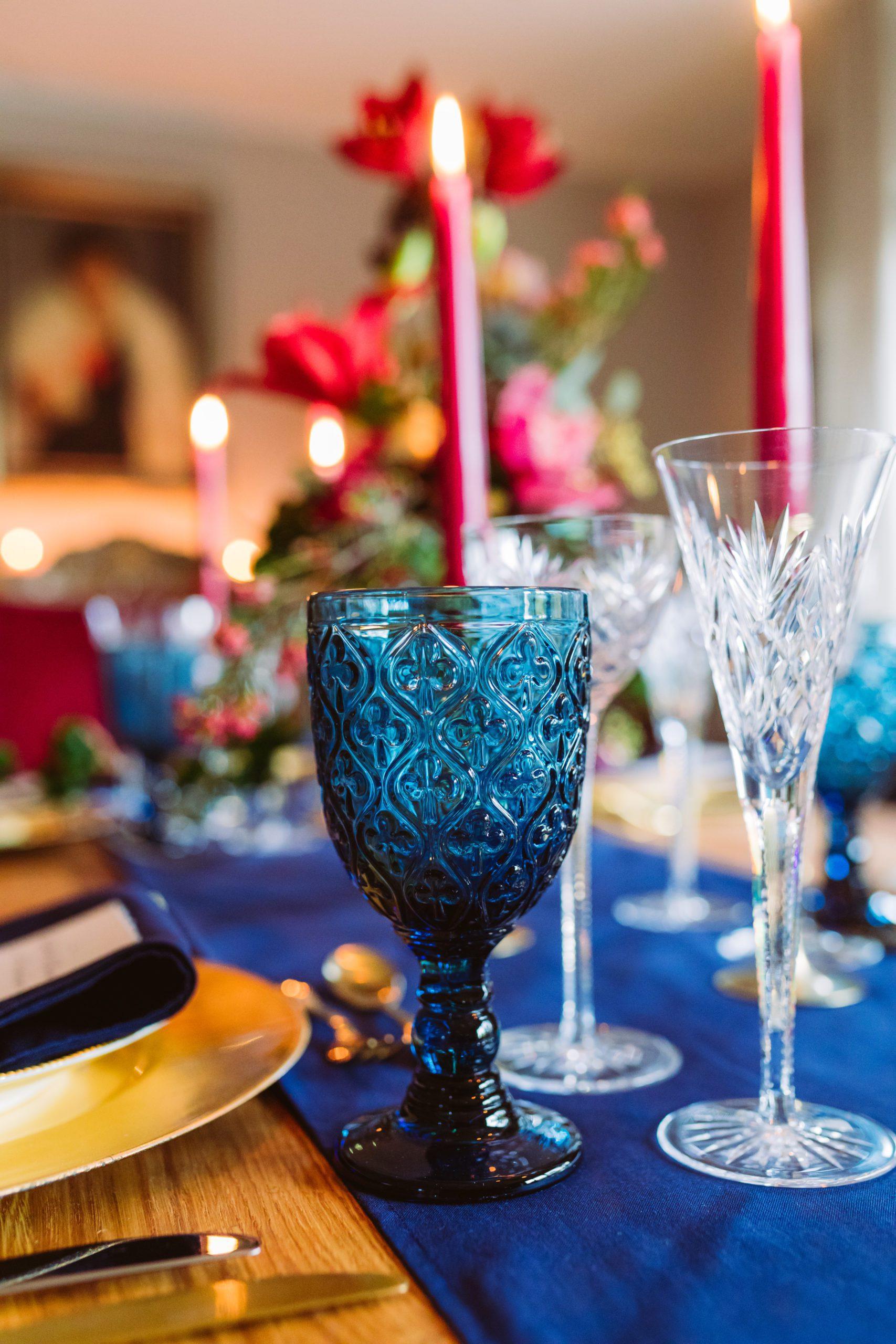 Wasser- Weinglas mieten Blau