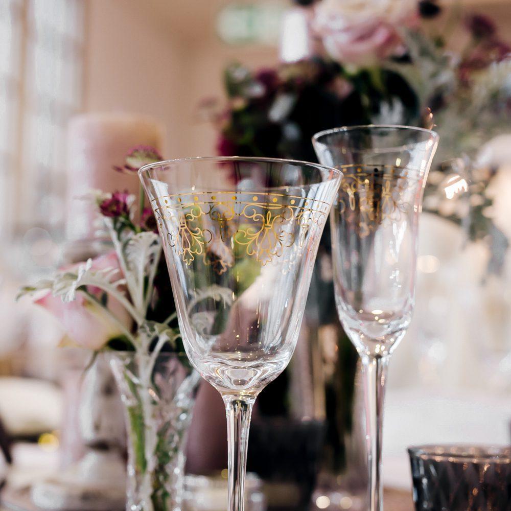 Weinglas Pompadour Goldrand mieten