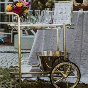 Mesing Barwagen mieten Gold Servierwagen