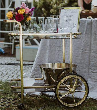 Messing Barwagen mieten Gold Servierwagen