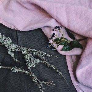 Leinen Serviette stonewashed Pink Lavender