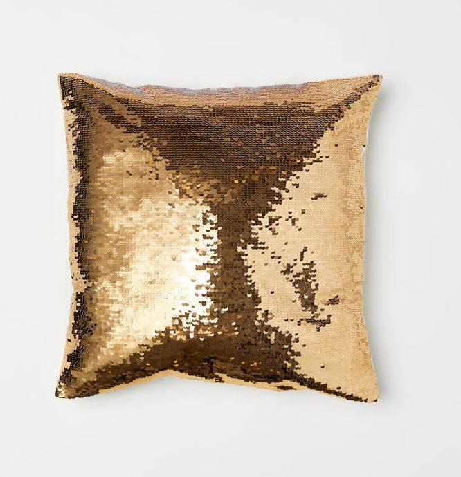 Pailetten Kissen Gold mieten